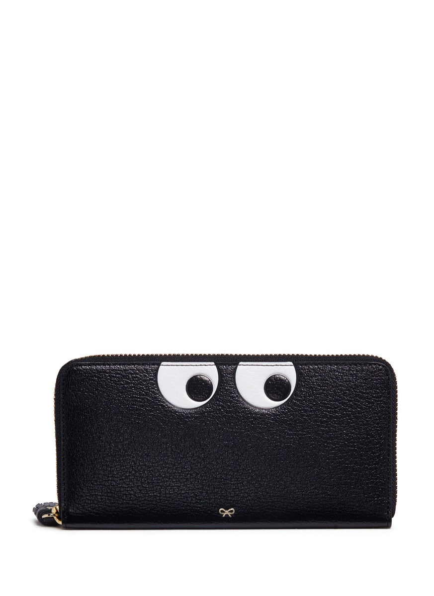 'Eyes' large leather continental wallet