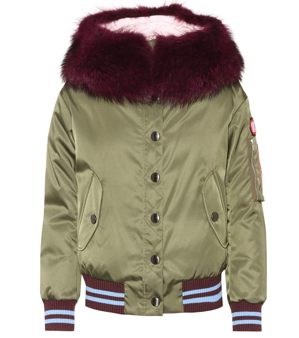 MILITARY BOMBER JACKET WITH COLORED FUR COLLAR