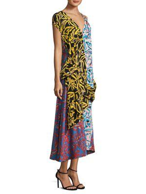 ASYMMETRICAL MIXED PRINT SILK MAXI DRESS