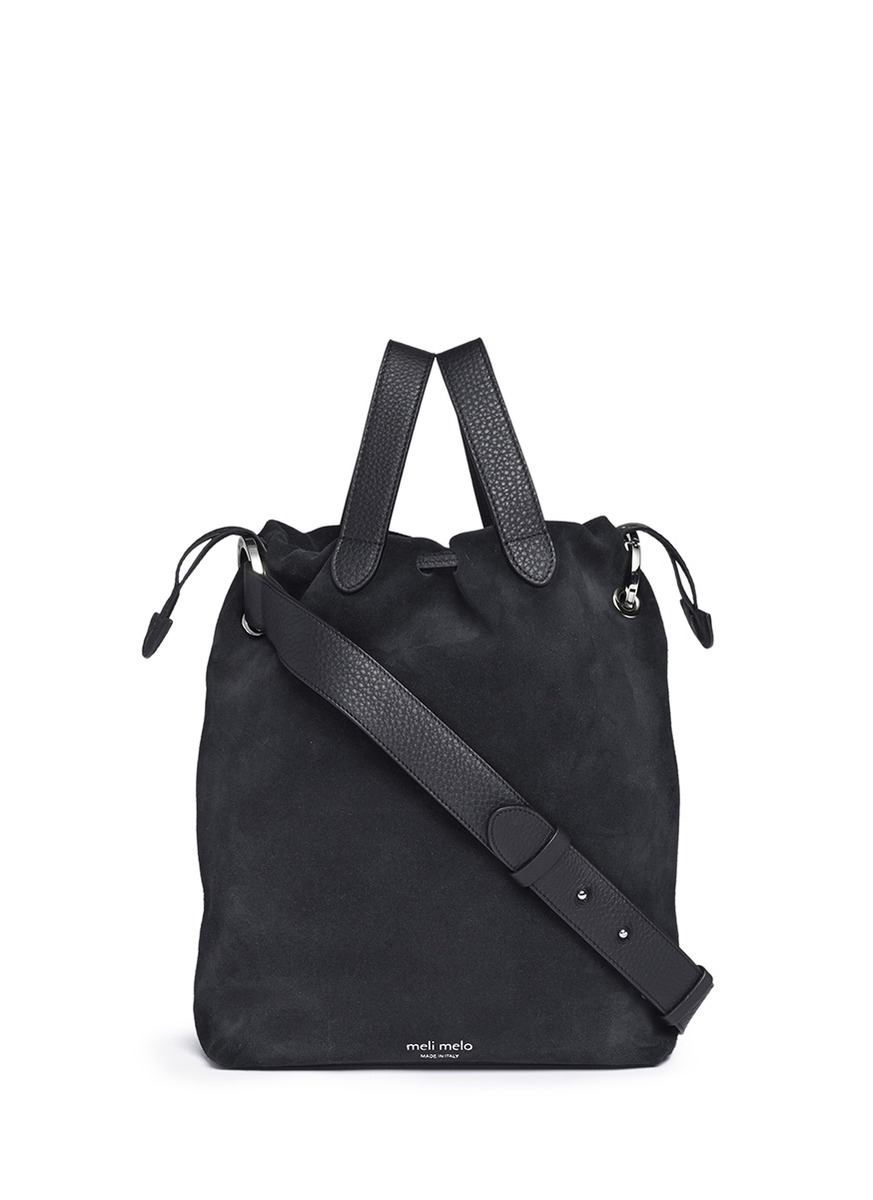 'Hazel' drawstring velvet crossbody bag