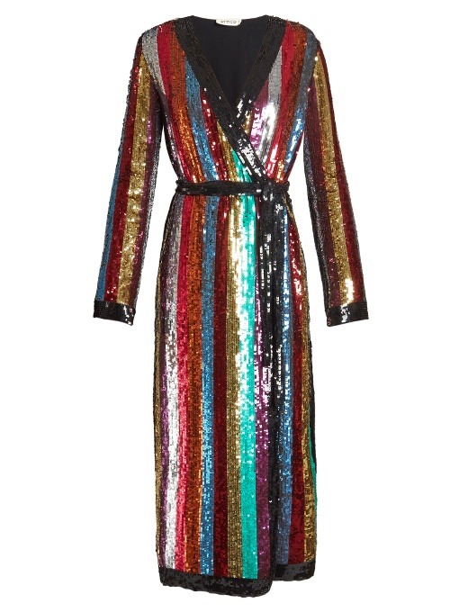 Attico Grace Striped Sequined Georgette Wrap Dress In