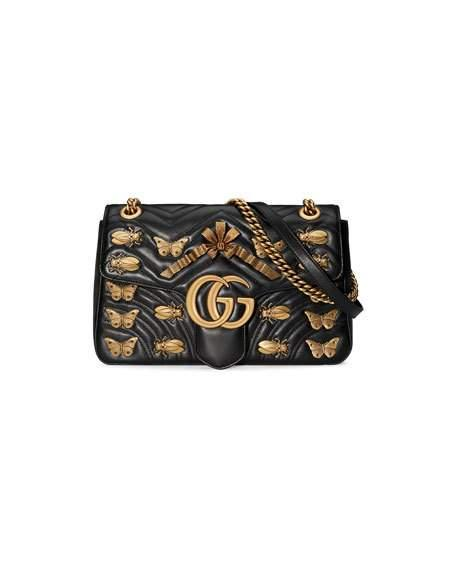 Metal Mix GG Marmont Medium Butterflies Matelassé Leather Chain Shoulder Bag