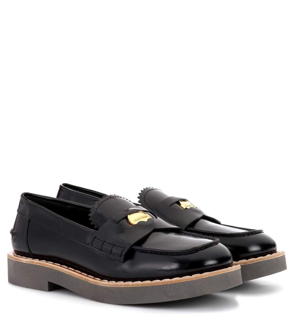 EMBELLISHED GLOSSED-LEATHER LOAFERS