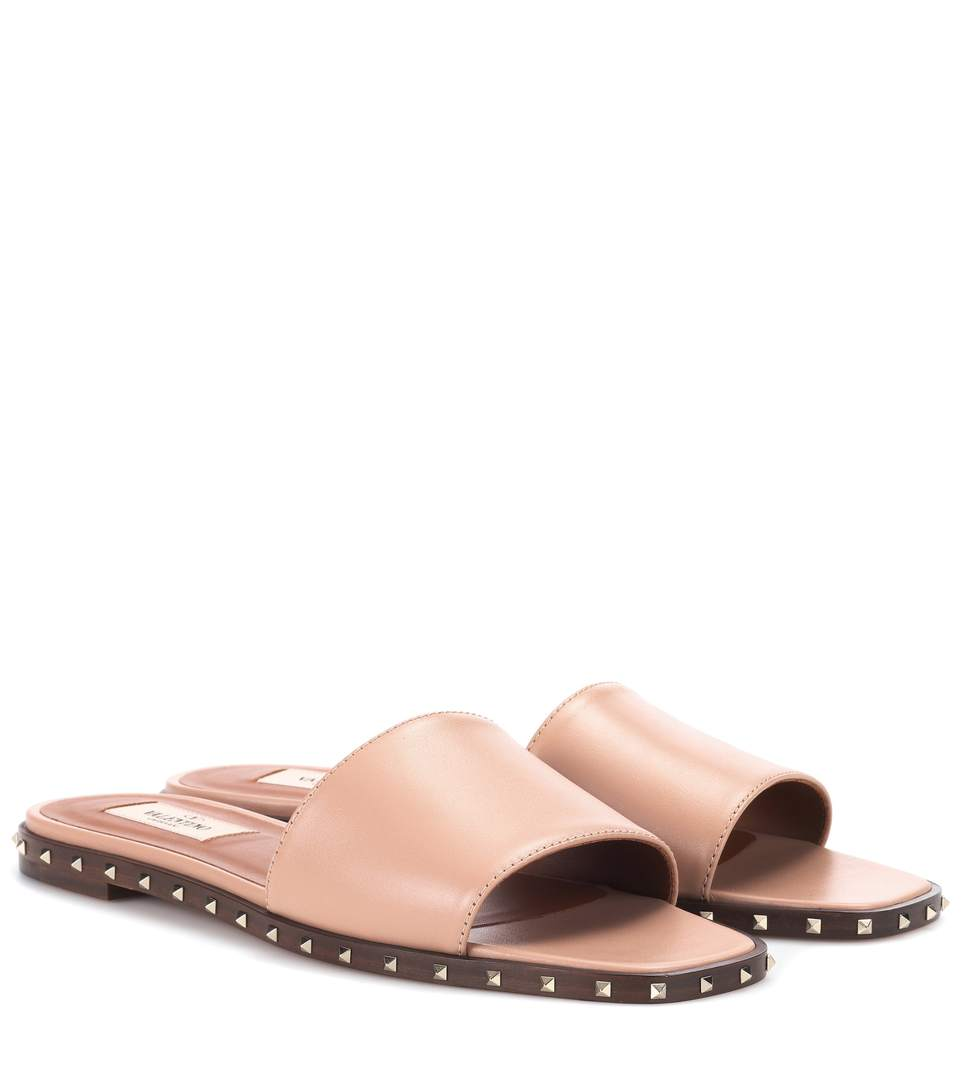ROCKSTUD LEATHER SLIDES