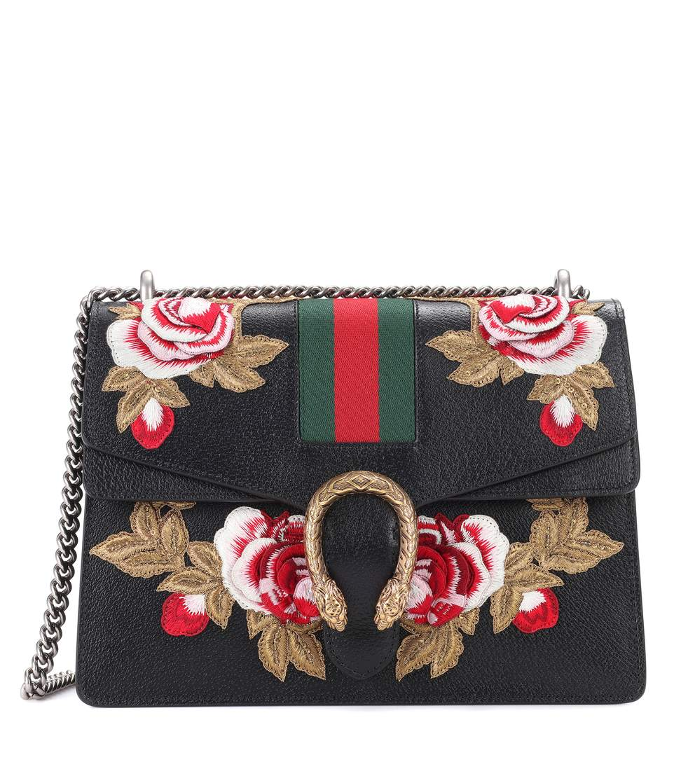 07e98f687e2 Gucci Dionysus Embroidered Leather Shoulder Bag Black rUxzWRFzz6 ...