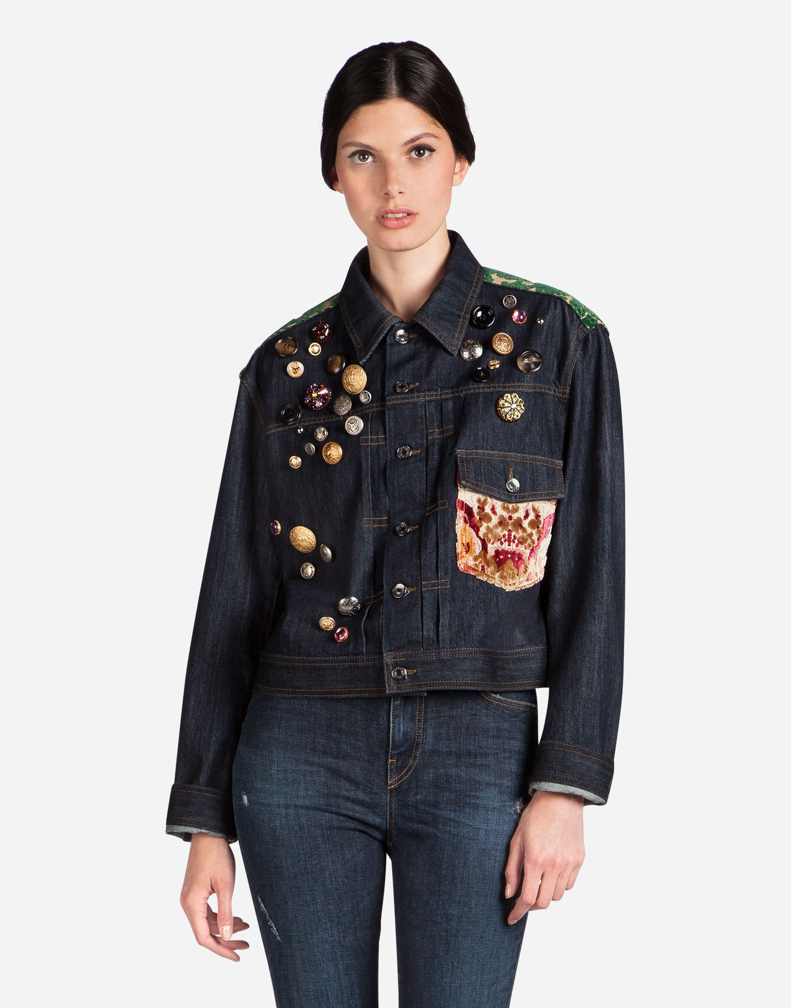 FLOCKED JACQUARD-TRIMMED EMBELLISHED DENIM JACKET