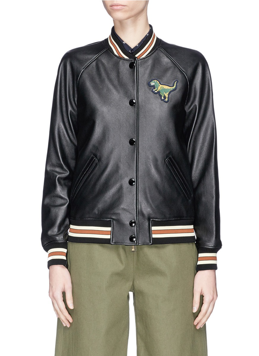 Rexy patch lambskin leather varsity jacket