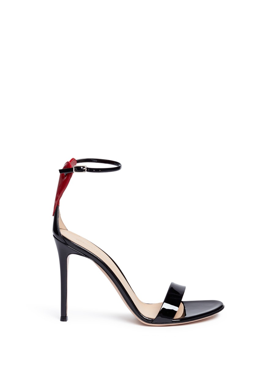 Gianvito Rossi  'Love' heart patch patent leather sandals