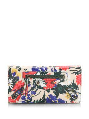 Balenciaga  Classic Money Floral Leather Wallet