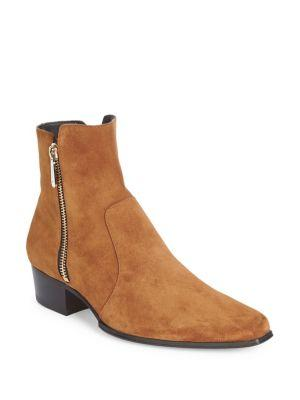 Balmain  Zipped Suede Ankle Boots