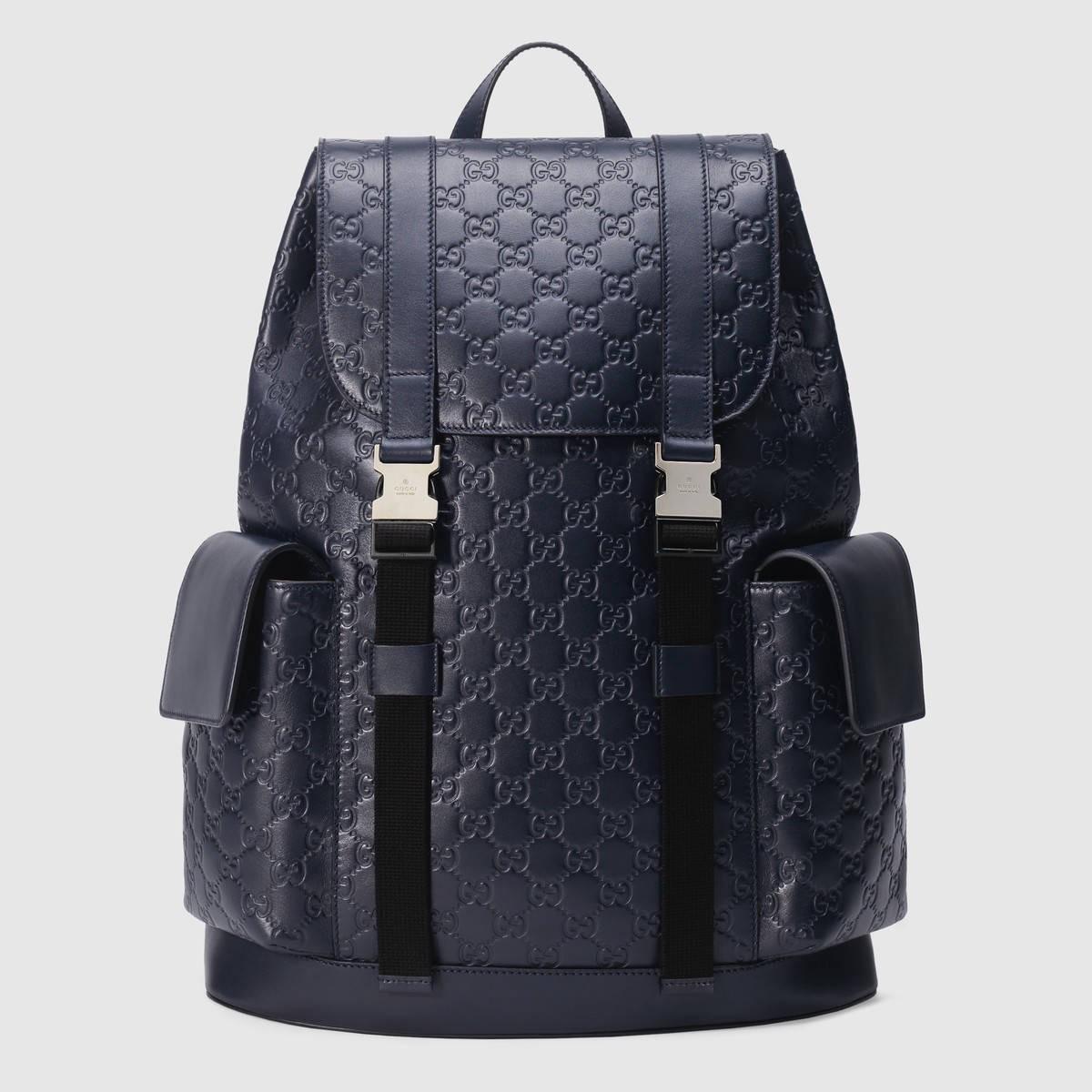 Gucci  Gucci Signature backpack - blue Gucci Signature