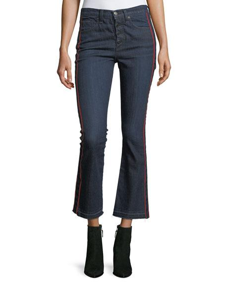 CAROLYN BABY BOOT CROPPED JEANS W/ TUX STRIPES, BLUE
