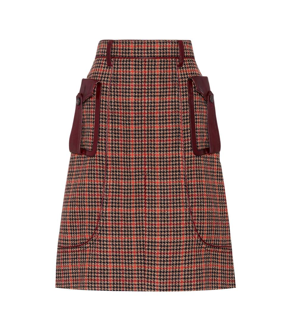 LEATHER-TRIMMED CHECKED WOOL-BLEND TWEED SKIRT