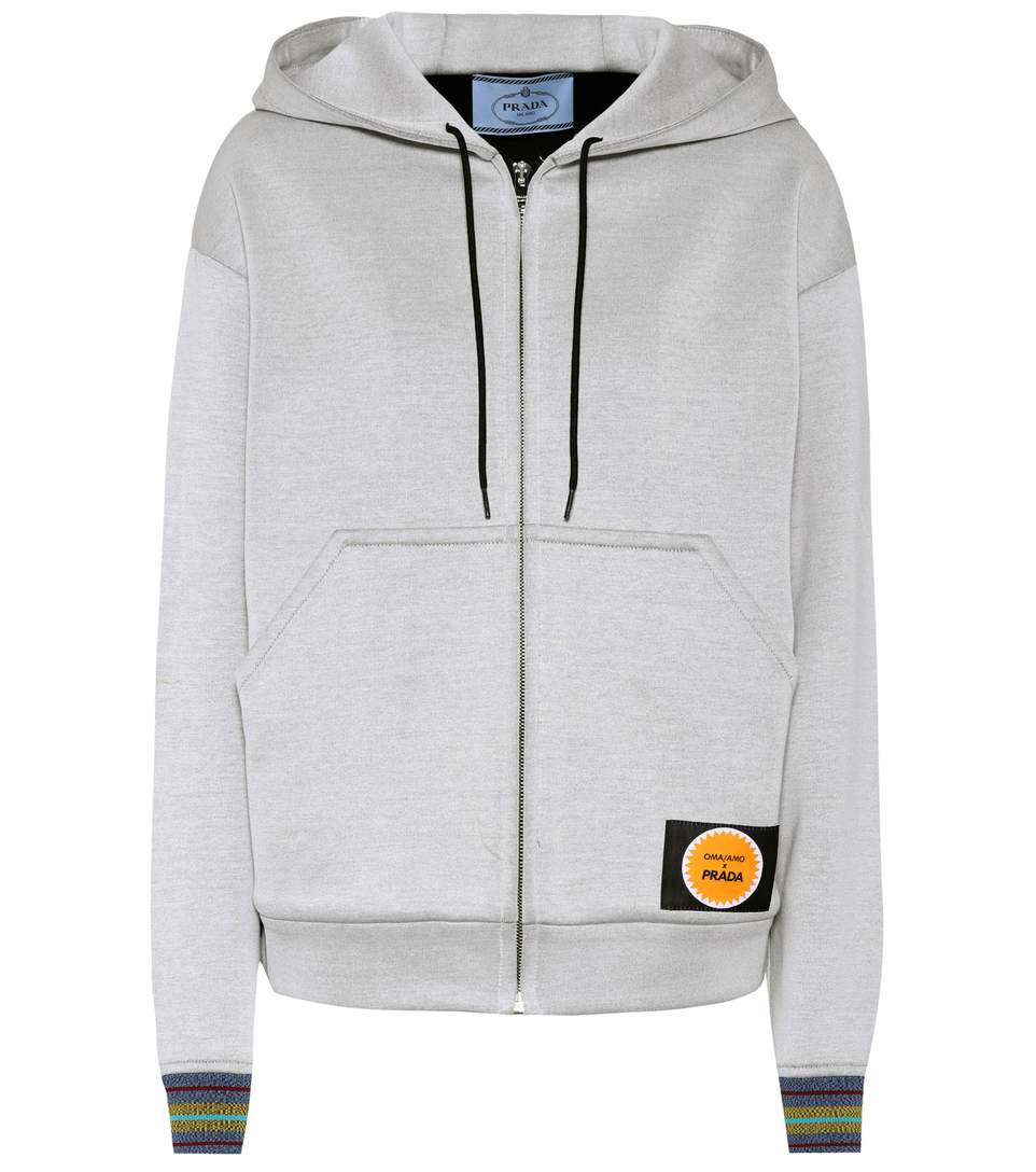 Prada  Printed cotton-blend hoodie