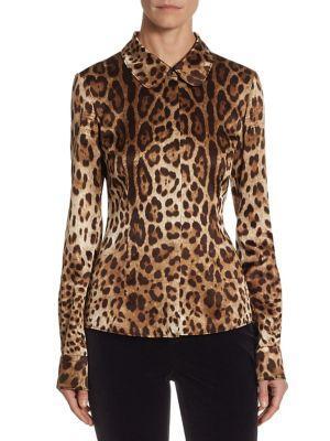 Dolce & Gabbana Silks Leopard Print Silk Blouse