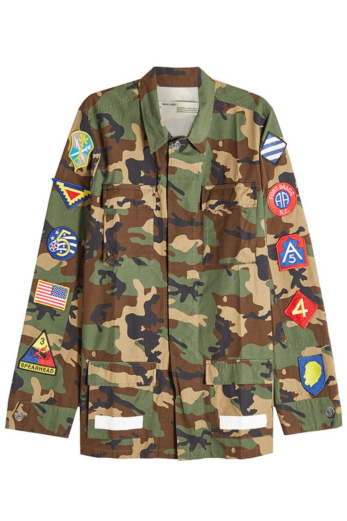 Off-White  CAMOUFLAGE COTTON JACKET WITH PATCHES