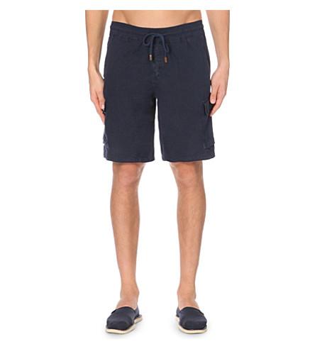 Navy Linen Cargo Shorts Vilebrequin skDChIsh