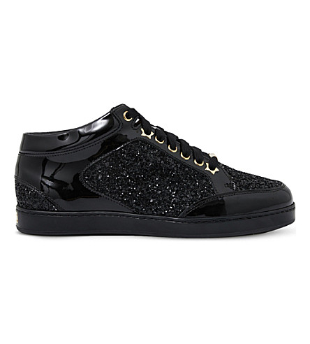 Jimmy Choo  Miami patent-leather and glitter sneakers