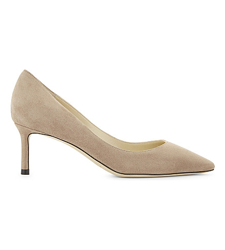 ROMY 85 Opal Grey Suede Pointy Toe Pumps