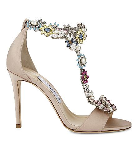 Jimmy Choo Crystals Reign 100 satin heeled sandals