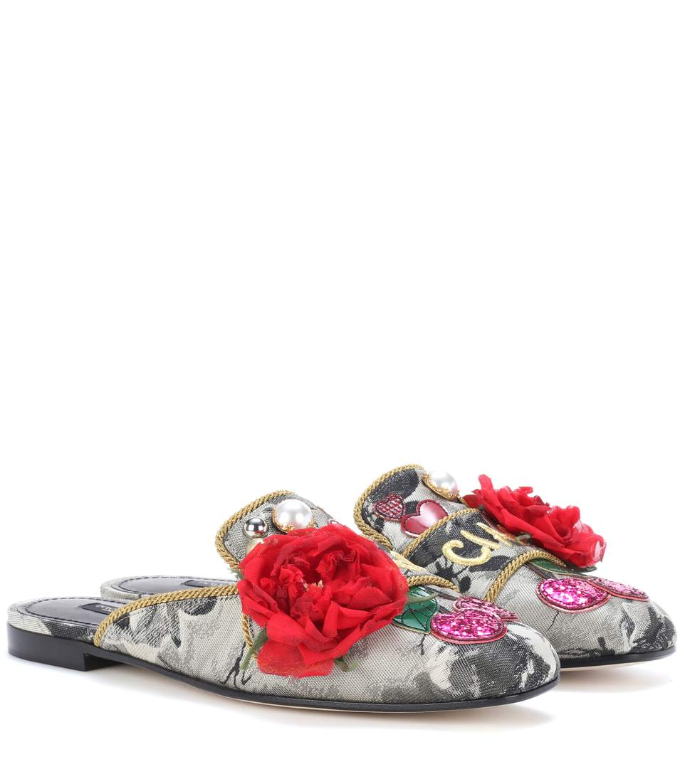 EMBELLISHED JACQUARD SLIPPERS