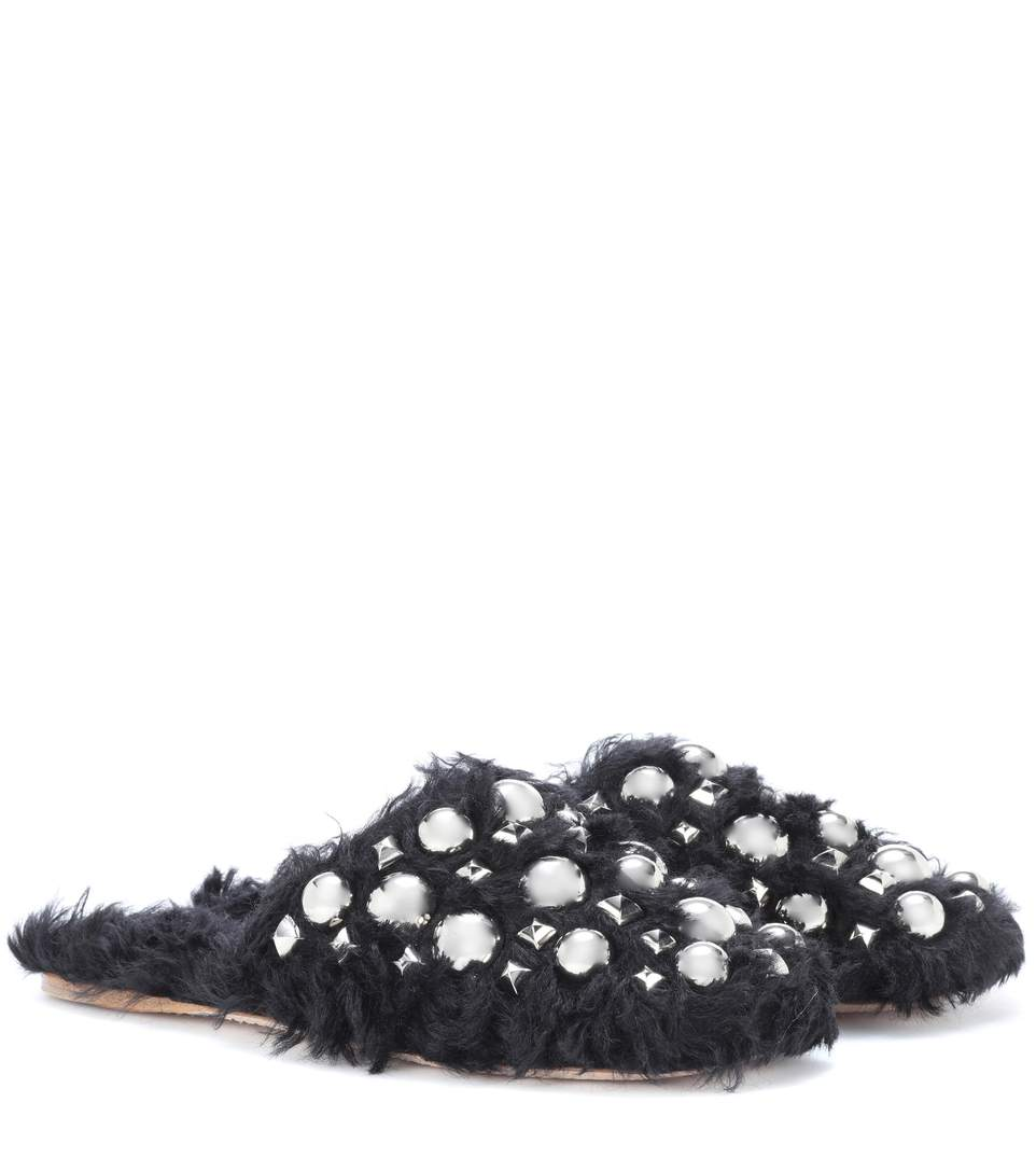 EMBELLISHED FAUX-FUR SLIPPERS