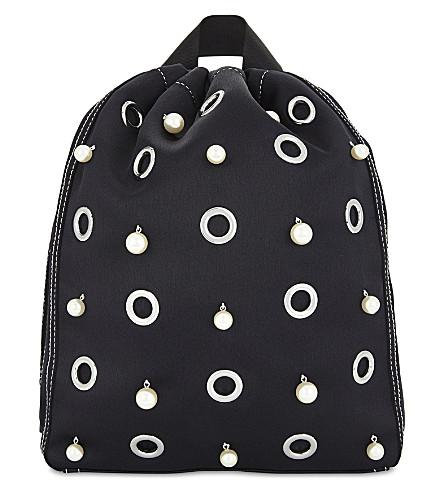 'Go-Go' faux pearl and eyelet medium satin drawstring backpack