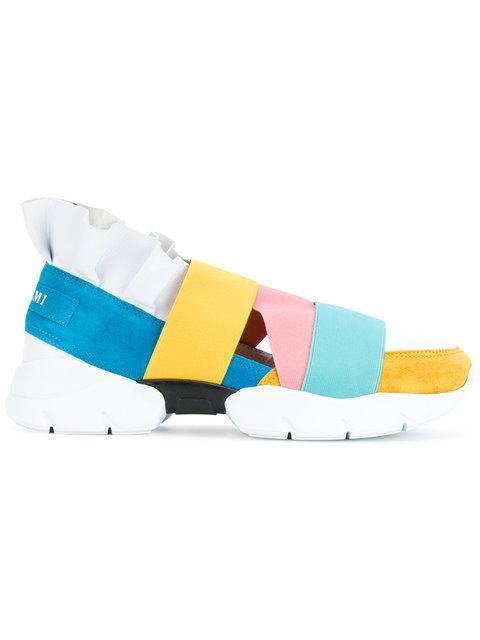 Blue & Yellow Colorblock 'Miami' Ruffle Slip-On Sneakers