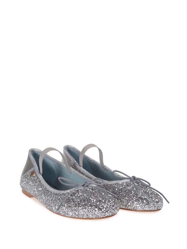 CHIARA FERRAGNI Lace-Up Glitter Ballerina Flats, Silver