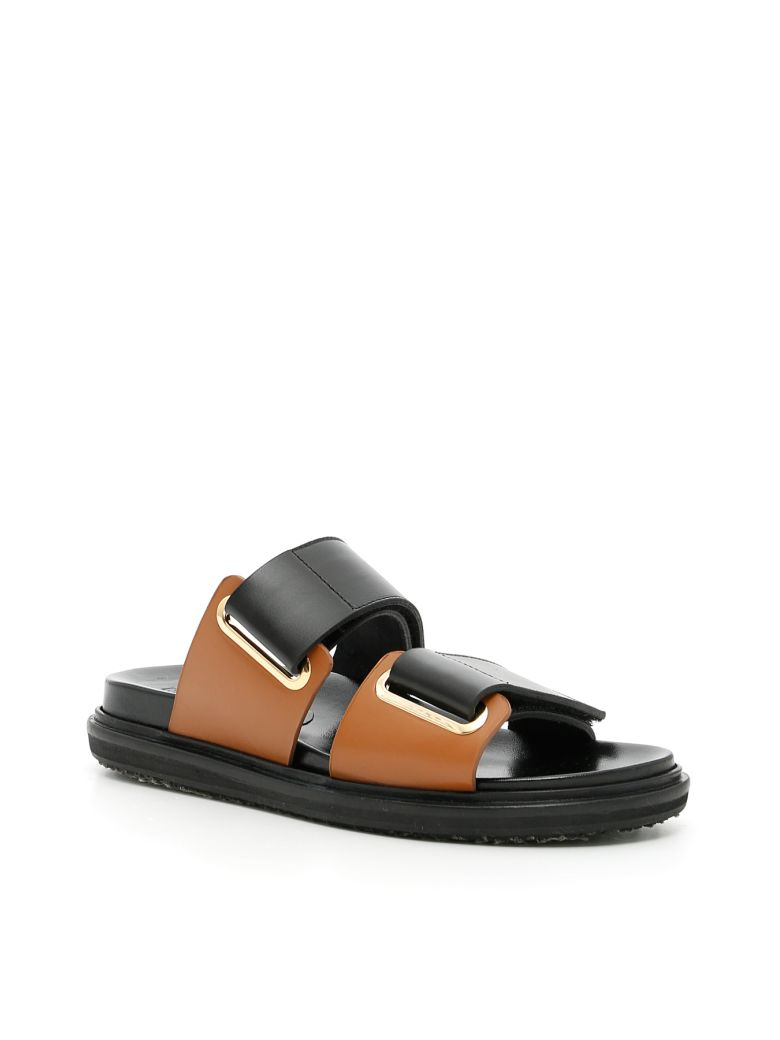 MARNI 30Mm Double Strap Leather Sandals, Black/Brown