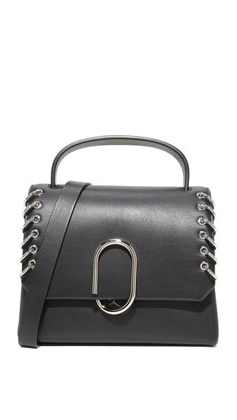 'Alix' pierced paperclip flap mini leather satchel