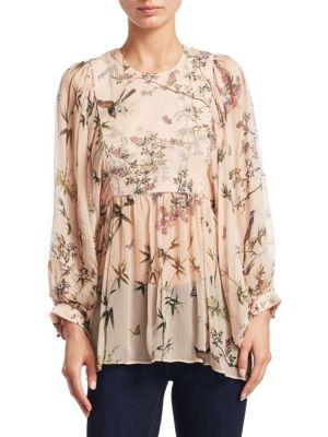 Maples Smock Floral Silk Top