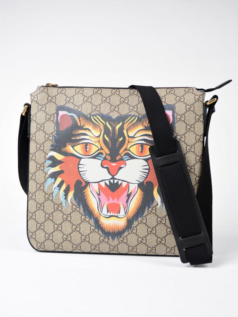 GUCCI Angry Cat Print Gg Supreme Flat Messenger Bag