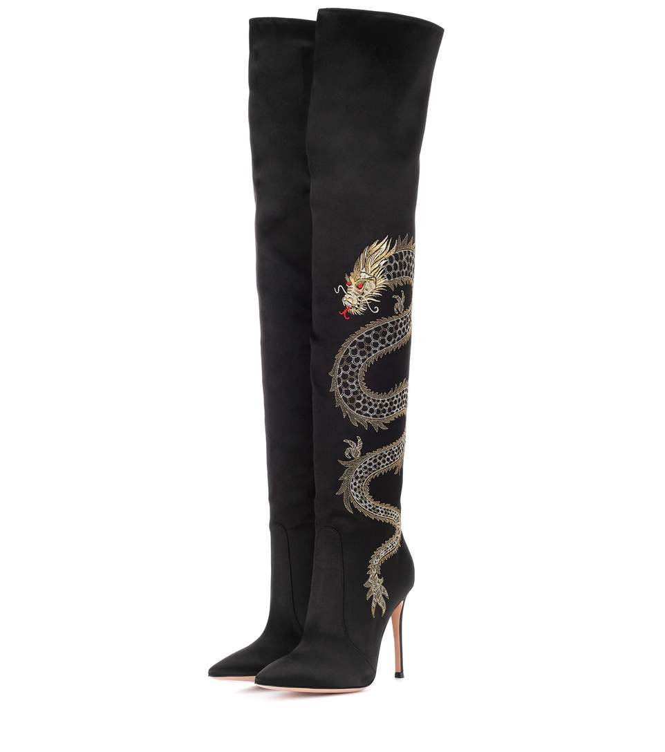 DRAGON EMBROIDERED SATIN OVER-THE-KNEE BOOTS
