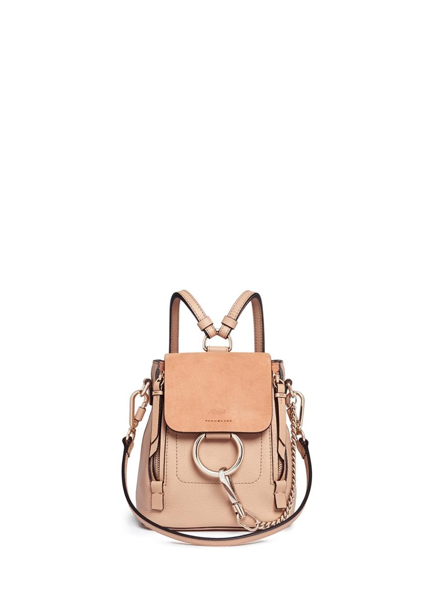 'Faye' mini suede flap leather backpack