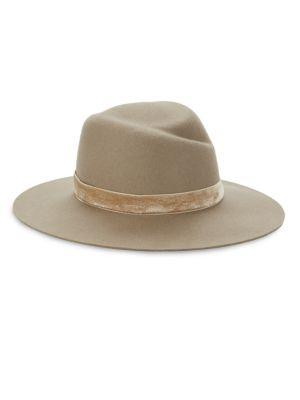 Zoe Velvet-Trim Fedora Hat
