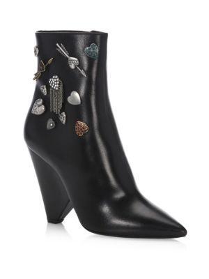 Niki Cone Heel Embellished Leather Booties