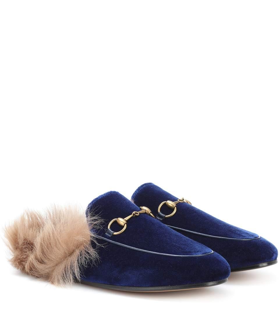 gucci princetown fur lined velvet slippers blue modesens. Black Bedroom Furniture Sets. Home Design Ideas