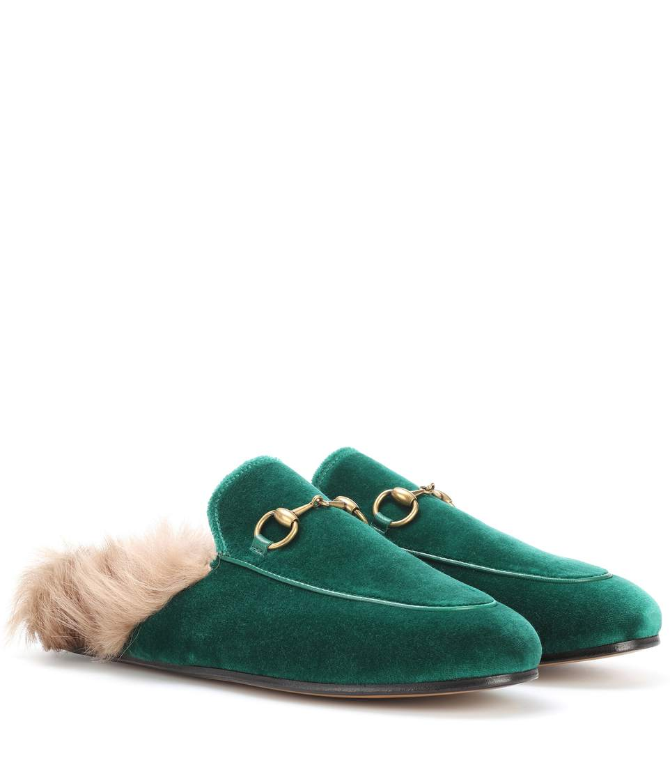 WOMEN'S PRINCETOWN VELVET AND LAMB FUR MULES