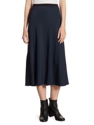 Button Front Cotton Skirt - Coastal Blue