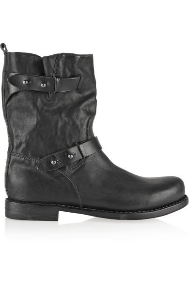 Black Leather Textured Biker Boots