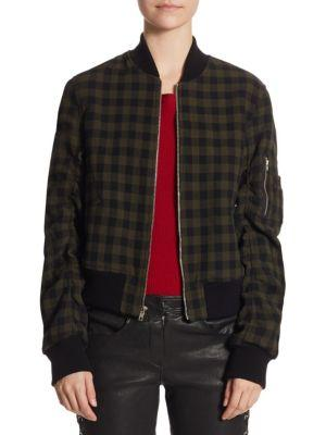 Andrew Gingham Wool Bomber Jacket