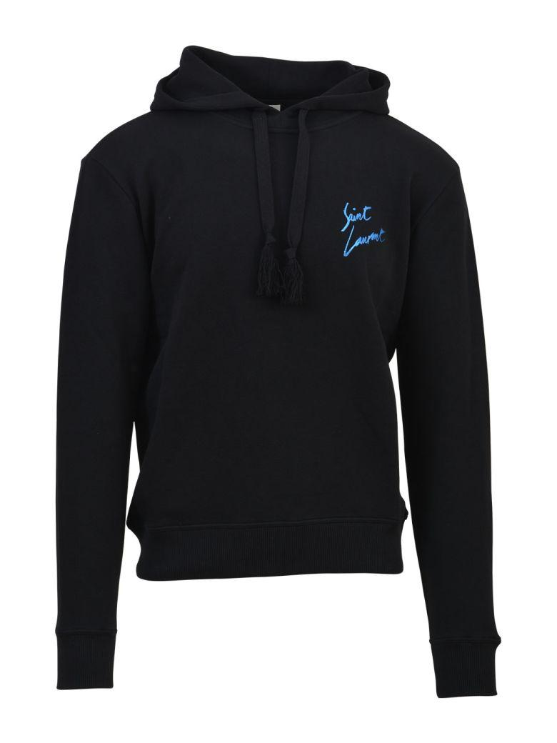 SAINT LAURENT Hoodie In Black And Metallic Blue French Terrycloth in Black-Blue
