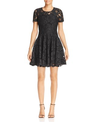 FLORAL LACE FIT-AND-FLARE DRESS