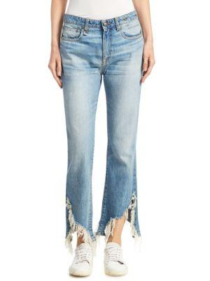 KICK FIT SHREDDED HEM COTTON DENIM JEANS