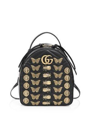 GG MARMONT ANIMAL STUDS LEATHER BACKPACK