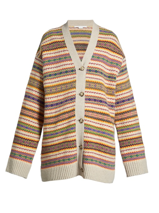 Fair Isle-intarsia oversized wool-knit cardigan
