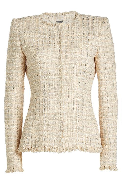 ALEXANDER MCQUEEN Tweed Jacket with Cotton, Wool and Silk