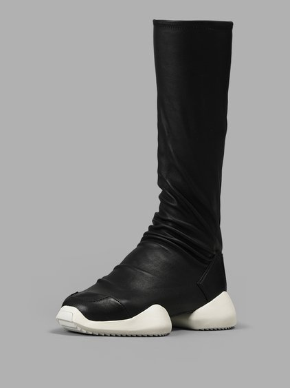 RICK OWENS BLACK ADIDAS ORIGINALS EDITION LEVEL SOCK RUNNER BOOTS