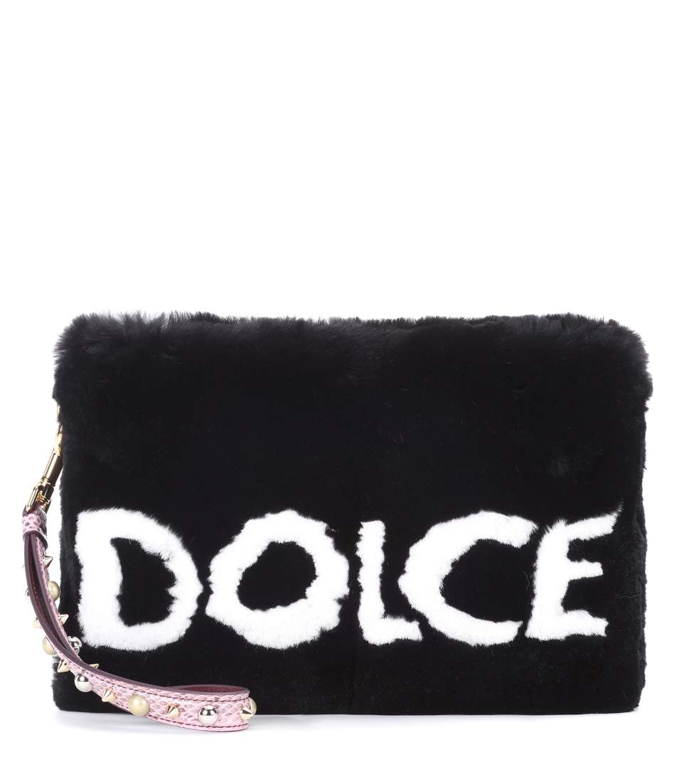 Cleo fur clutch bag - Black Dolce & Gabbana